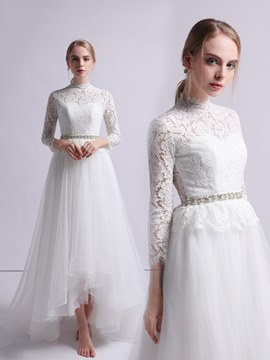 Ericdress Lace High Neck A-Line 3/4 Length Sleeves Wedding Dress 2020