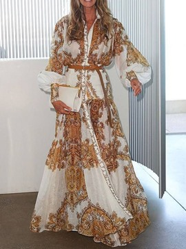 Ericdress African Fashion Lapel Floor-Length Expansion A-Line Dress