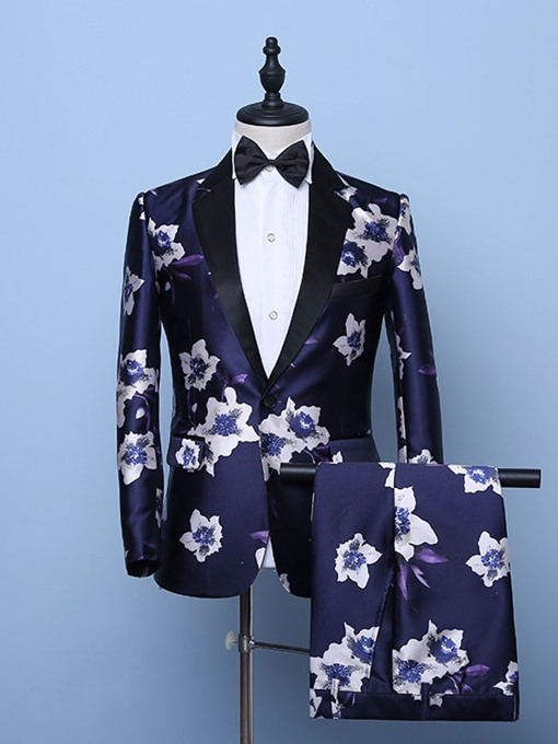 Ericdress Blazer One Button Floral Mens Dress Suit
