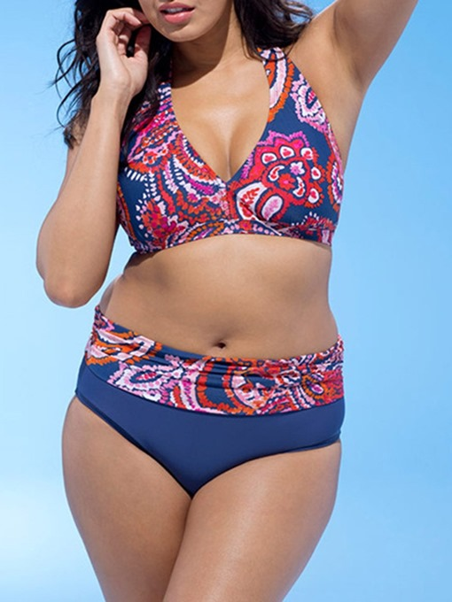 Ericdress Plus Size Stretchy Print Lace-Up Swimsuit