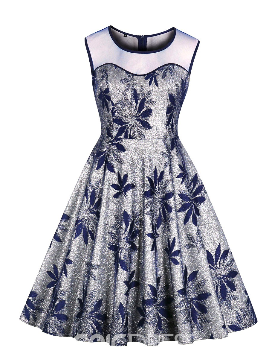 Knee-Length Print Sleeveless A-Line Homecoming Dress