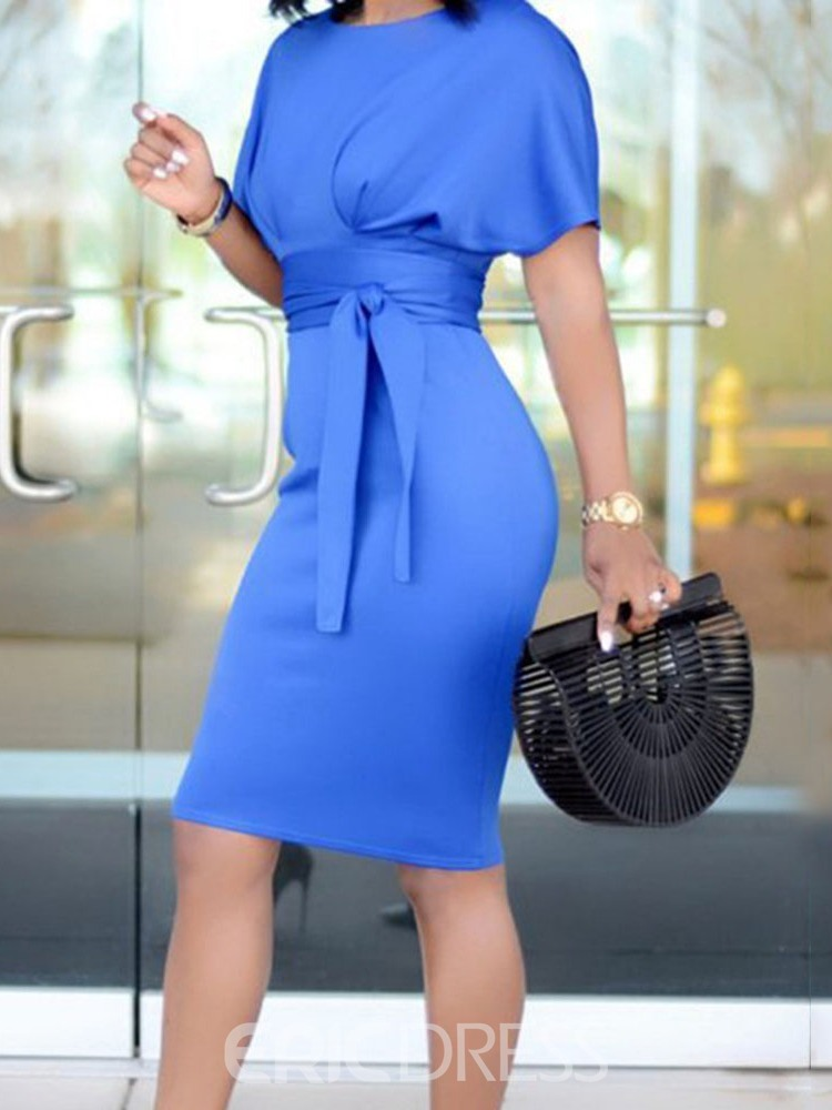 Ericdress Bodycon Knee-Length Lace-Up Batwing Sleeve Plain Dress