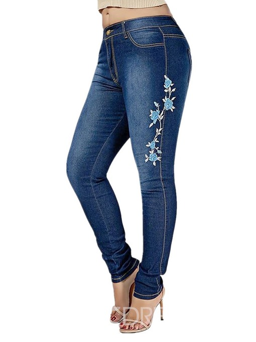 Ericdress Plus Size Floral Embroidery Skinny Zipper Jeans
