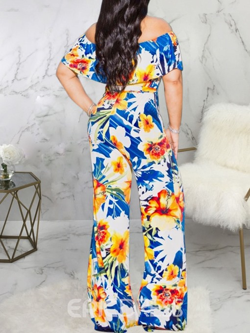 Ericdress Print Off Shoulder African Fashion Slim Jumpsuit