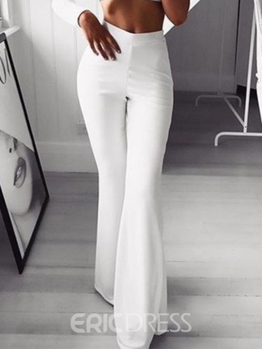 Ericdress Slim Plain White Casual Flare Pants