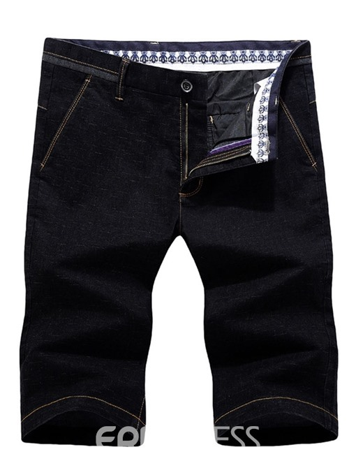 Ericdress Color Block Straight Mid Waist Mens Casual Pants