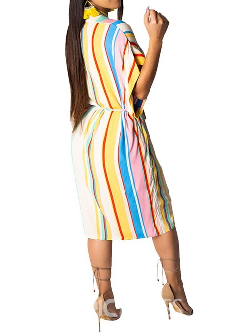Ericdress Mid-Calf Short Sleeve Asymmetric Batwing Sleeve Striped Dress