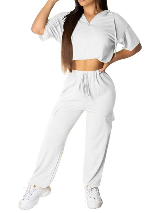 Ericdress Zipper Plain Sport Slim T-Shirt And Pants Two Piece Sets