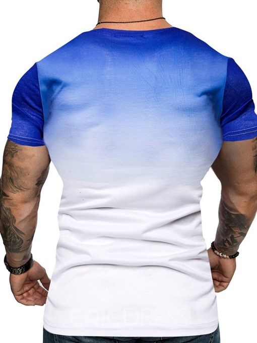 Ericdress Round Neck Casual Gradient Slim Mens T-shirt