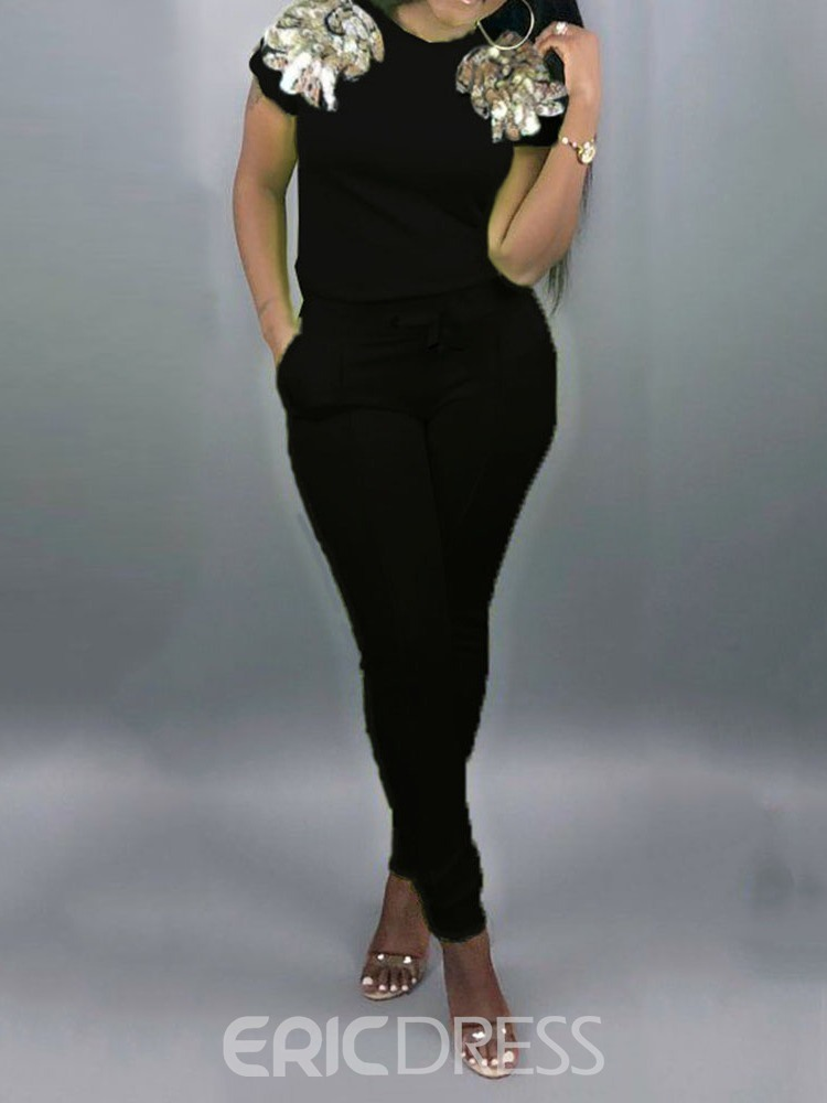 Ericdress Sequins Plain Skinny T-Shirt And Pants Two Piece Sets