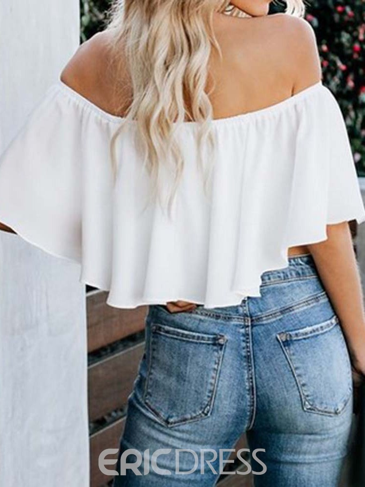 Ericdress Off Shoulder Pleated Flare Sleeve Short Blouse