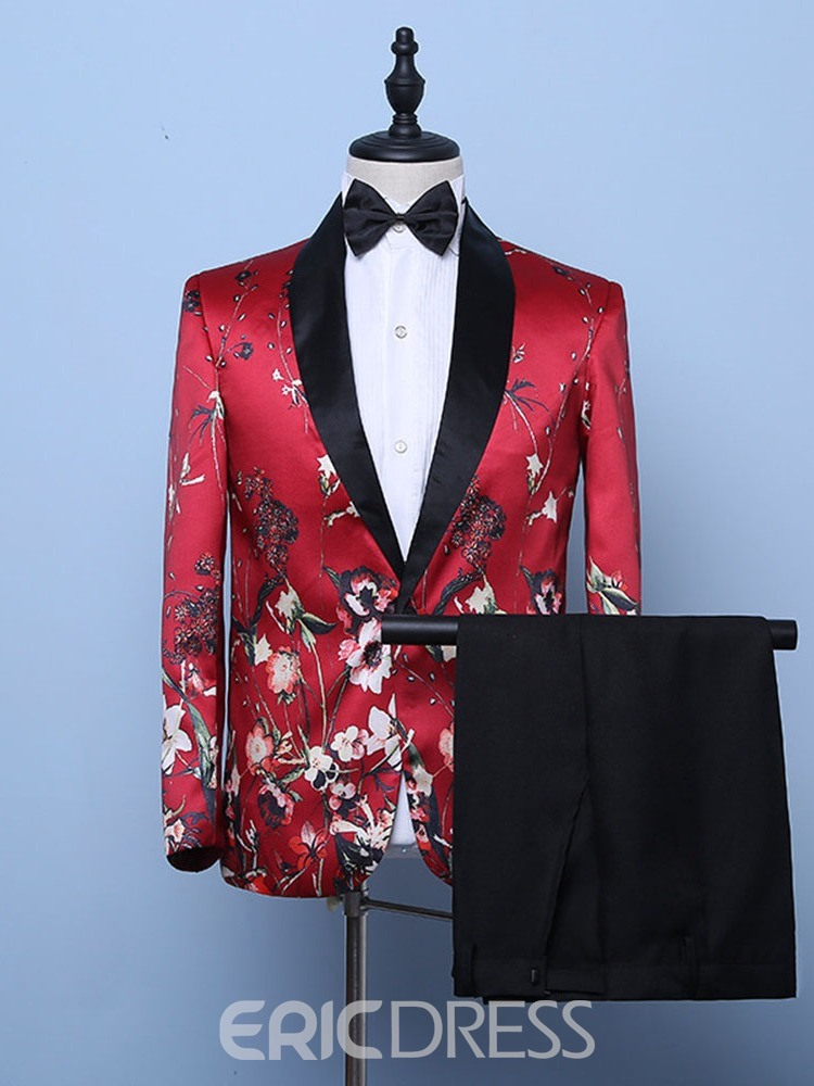 Ericdress Fashion One Button Mens Print Dress Suit