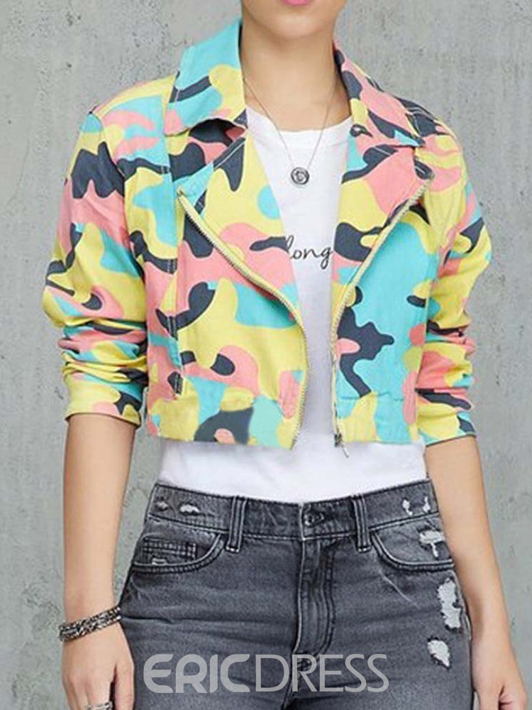 Ericdress Color Block Zipper Print Short Jacket