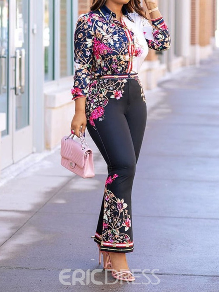 Ericdress Print Color Block Floral Bellbottoms Shirt And Pants Two Piece Sets