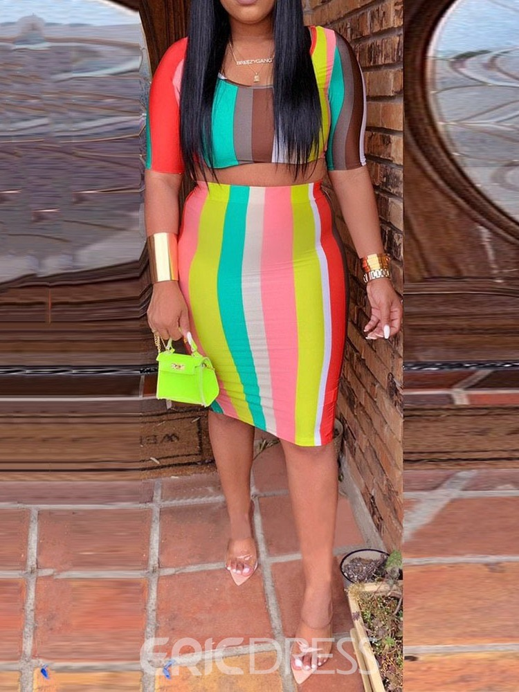 Ericdress Stripe Skinny Bodycon T-Shirt And Skirt Two Piece Sets