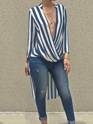 Ericdress V-Neck Color Block Stripe Fashion Long Blouse thumbnail