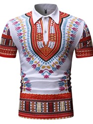 Ericdress African Fashion Dashiki Color Block Print Casual Mens Polo Shirt фото