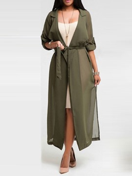 ericdress longue ceinture lace-up spring trench coat