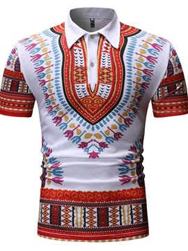Ericdress African Fashion Dashiki Color Block Print Casual Mens Polo Shirt