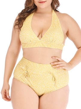 Ericdress Polka Dots Stretchy Plus Size Lace-Up Swimsuit