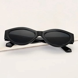 Ericdress Polarized Black Oval Sunglasses