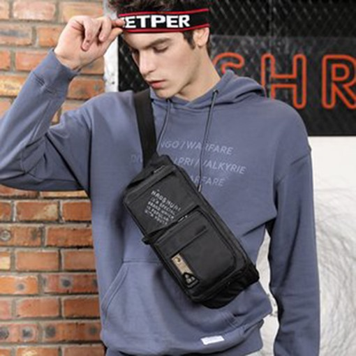 Ericdress Nylon Men Black Thread Waist Bag