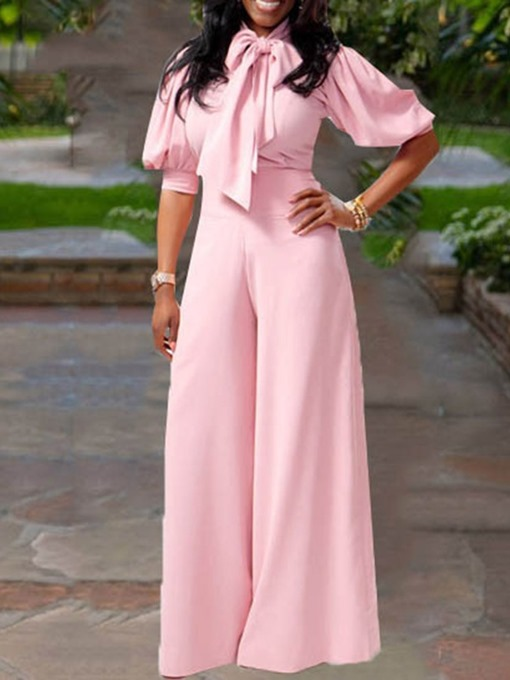 Ericdress Bowknot Dressy Slim High Waist Jumpsuit