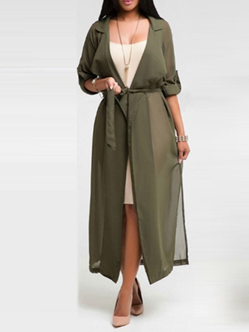 Ericdress Long Belt Lace-Up Skimpy Trench Coat
