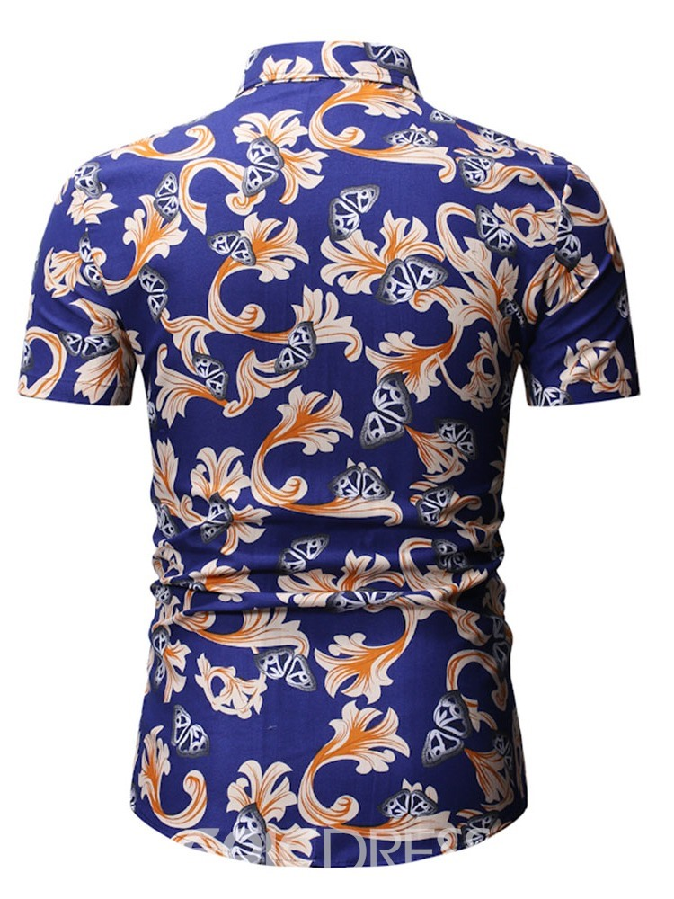 Ericdress Button Casual Floral Single-Breasted Mens Shirt