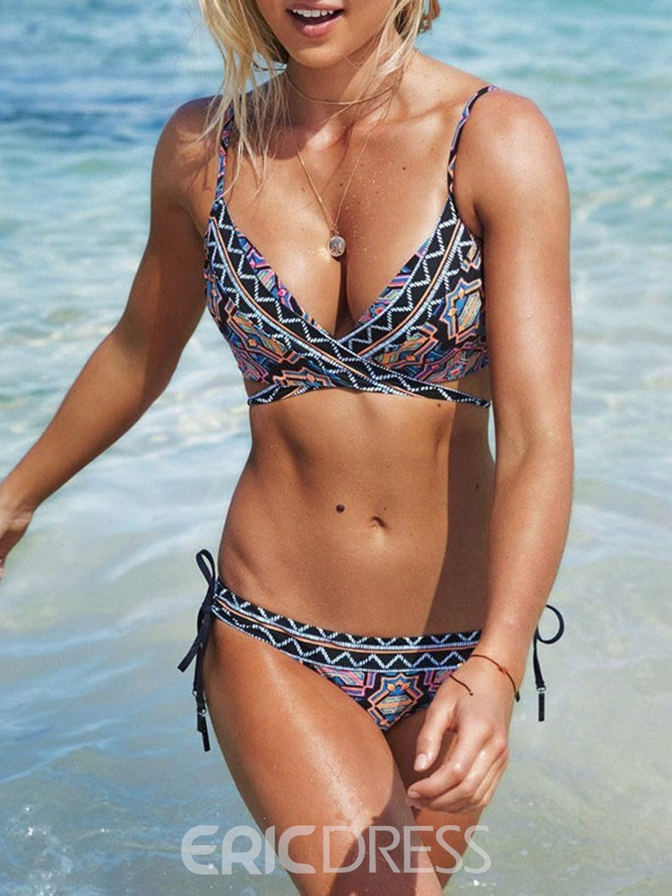 Ericdress Sexy Print Lace-Up Skimpy Swimsuit