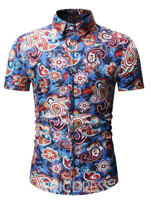 Ericdress Lapel Button Ethnic Single-Breasted Mens Loose Shirt