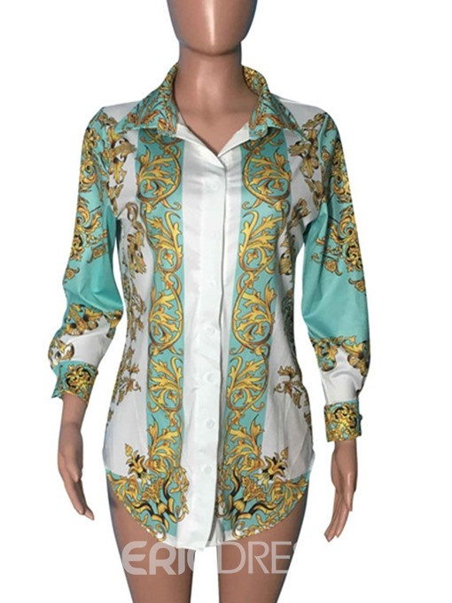 Ericdress Print Lapel Button Fashion Blouse