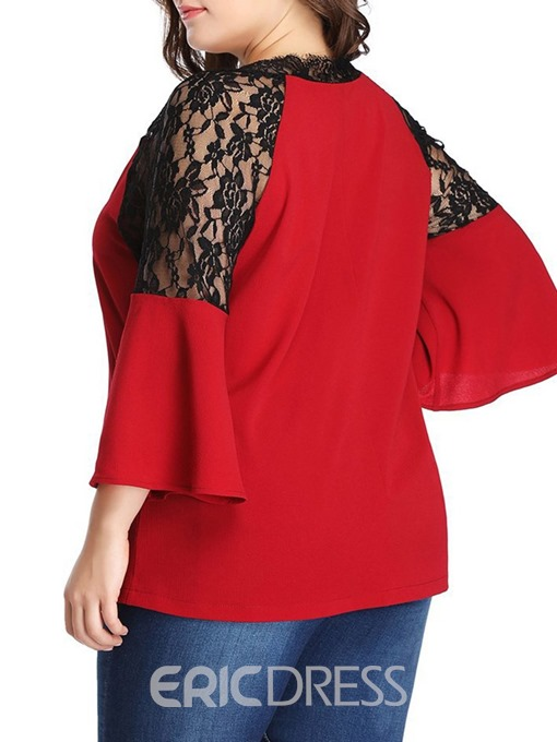 Ericdress Patchwork Color Block V-Neck Plus Size Lace Blouse