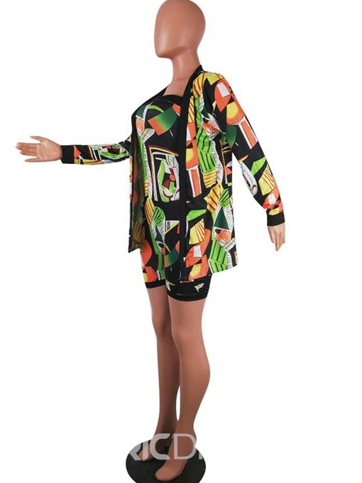 Ericdress Print Color Block Skinny Sexy Coat And Romper Two Piece Sets
