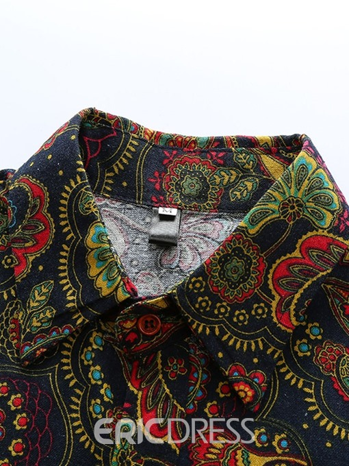 Ericdress Floral Lapel Ethnic Mens Loose Shirt