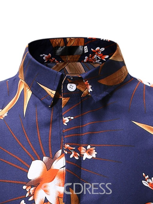 Ericdress Lapel Button Casual Mens Single-Breasted Shirt