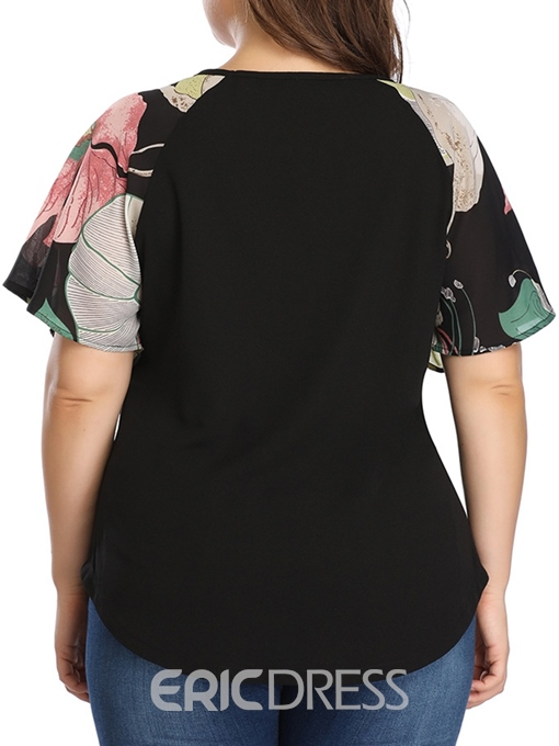 Ericdress Floral Round Neck Plus Size Short Sleeve Blouse
