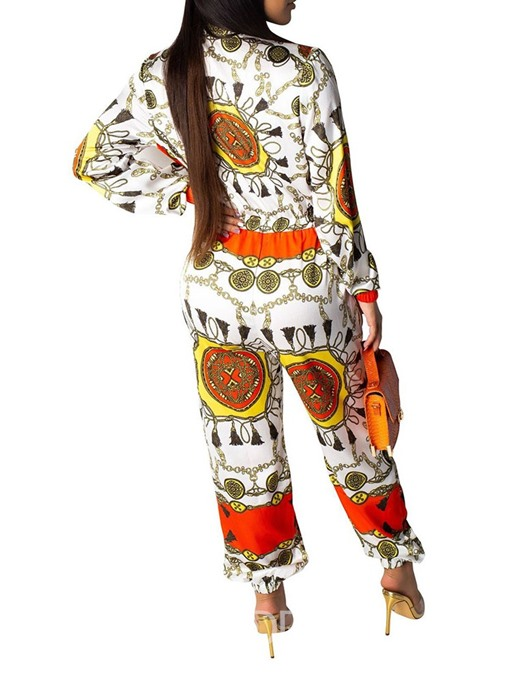 Ericdress African Fashion Print Zipper Slim Jumpsuit