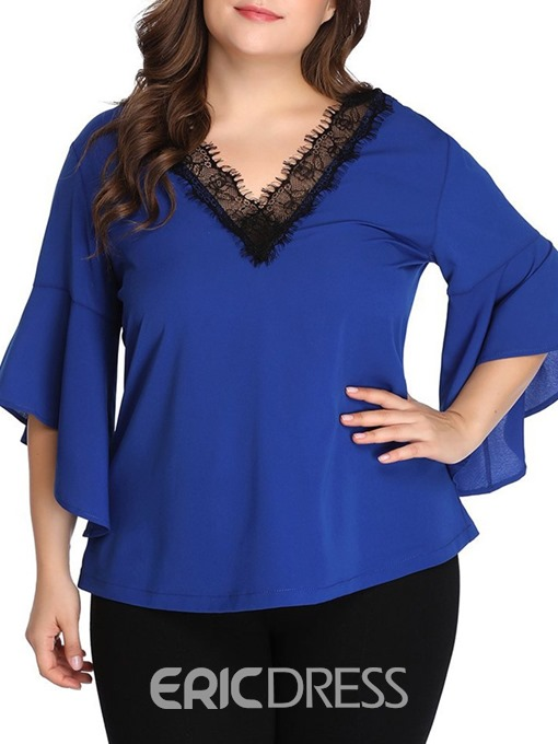 Ericdress Patchwork Lace Color Block Plus Size Blouse