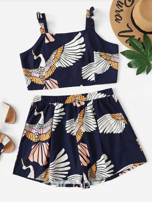 Ericdress Plus Size Print Vest Animal Pullover Two Piece Sets