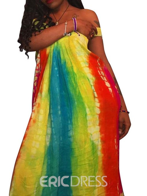 Ericdress Short Sleeve Off Shoulder Tie-Dye High Waist Fashion Dress