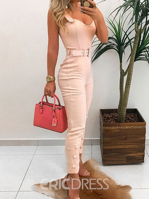 Ericdress Plain Skinny Office Lady Ankle Length Jumpsuit