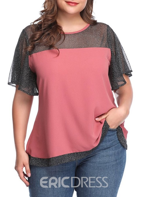 Ericdress Patchwork See-Through Plus Size Short Sleeve Blouse