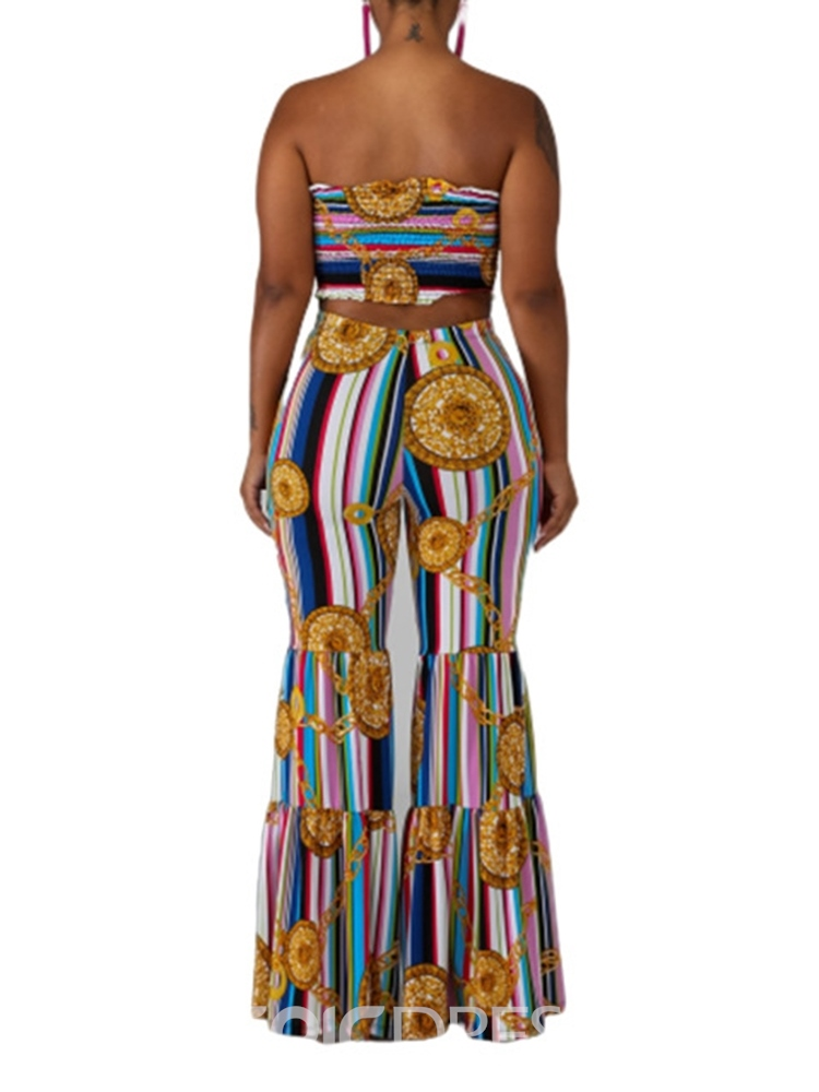 Ericdress African Fashion Print Stripe Vest And Flare Pants Two Piece Sets