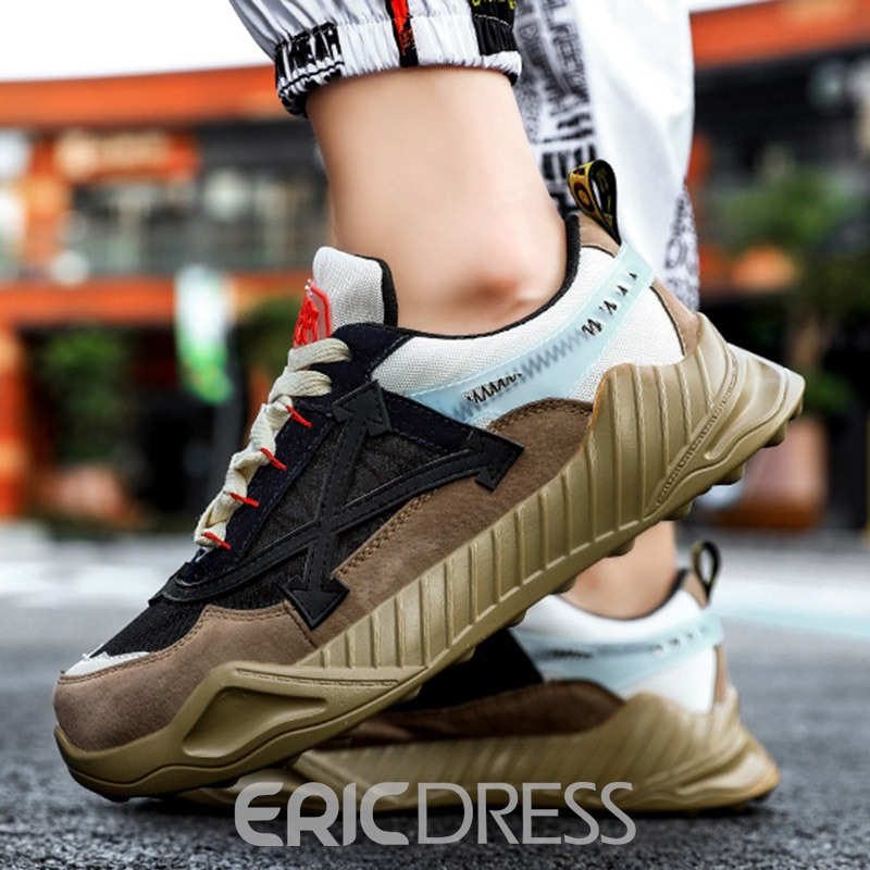 Ericdress Mesh Color Block Lace-Up Round Toe Men's Outdoor Sneakers