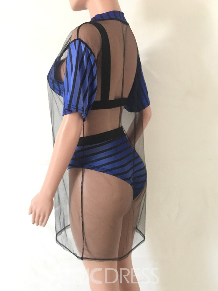 Ericdress Patchwork Mesh Stripe Sexy Swimsuit