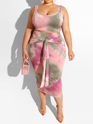 Ericdress Plus Size Lace-Up Color Block T-Shirt And Skirt Two Piece Sets thumbnail