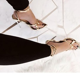 Ericdress PU Color Block Ankle Strap Stiletto Heel Women's Sandals