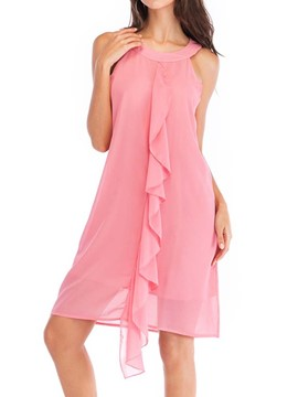 Ericdress Stringy Selvedge Round Neck Above Knee Casual Chiffon Dress