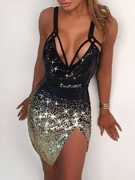 Ericdress Above Knee Sequins V-Neck Sexy Pullover Dress